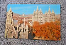 Vintage Postcard L. D. S. Temple & Utah Capitol Salt Lake City Utah - unused
