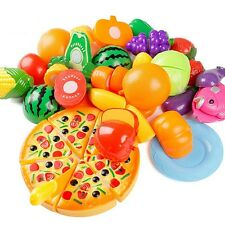 New Kitchen Food Pretend Play Toy Cutting Vegetable Fruit Children Gift Set 24PC