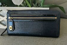 Coach Poppy Textured Patent Leather Accordion Zip Wallet 49621 Navy Blue-Nice!