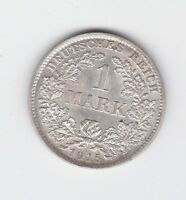 1915 1 Mark German Germany Silver Coin D-330