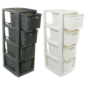 Korbregal mit 4 Schubladen aus Kunststoff Plastik Ordnungsbox Rattan Korbkommode