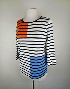 Gerry Weber Women's Knit Top 3/4 Sleeve Black White Stripe Size Large 14