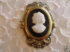 (c542) black Milk glass Lady cameo pin vintage filigree brass