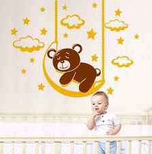 00990 Wall Stickers Wandaufkleber Dekorativ Bärenjunge auf Mond 100x75cm