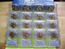 2007 PRESIDENTIAL P&D PCGS MS66 FIRST DAY ISSUE POSITION A&B 16-COIN DOLLAR SET