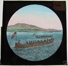COLOUR Glass Magic lantern slide TWO CANOES ONE BRITISH ONE AMERICAN