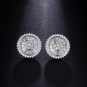 Vintage 1 Pair cubic zirconia Round White Gold Plated earrings For Women And Men