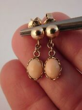 PINK ANGEL SKIN CORAL 14K GOLD DANGLE DROP EARRINGS