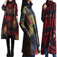 Women's Checked Jersey Jumper Dress Casual Loose Plus Oversized Top Coat Pocket