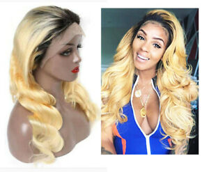 18'' Long 613 Blonde Synthetic  lace frontal Ombré Black On Roots Heat Safe Wigs