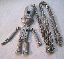 Darling Vintage HILLCRAFT Silver Plated Jointed British Bobby Pendant Necklace