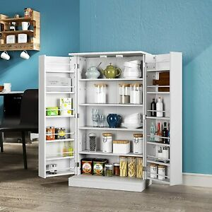 White Wooden Kitchen Pantry Cabinet Storage Cupboard with 6 Adjustable Shelves