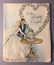 "Vintage Wedding Bridal Card Pretty Bride White Dress Groom ""To the happy couple"""