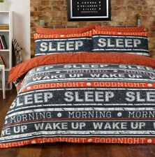 Retro Text Orange Grey Quilt Cover Boys Girls Bedding Set ~ ALL SIZES FREE P&P !