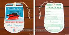 PAQUEBOT FRANCE Authentique Etiquette de bagage 'Classe Touriste' FRENCH LINE #1