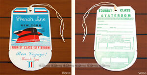 PAQUEBOT SS FRANCE ETIQUETTE BAGAGE LUGGAGE TAG CGT FRENCH LINE 1971 OCEAN LINER