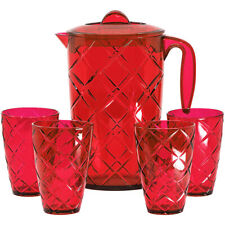 64 Oz Durable Plastic Pitcher with Lid and 4 Tumbler Glasses 12 Oz Set, Red