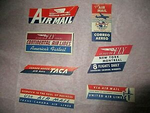 7 VINTAGE Air Mail STICKERS*Trans Canada-Canadian Colonial-United-Frontier-etc.