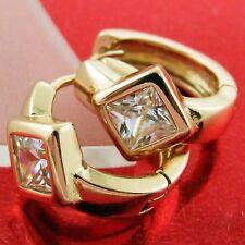 FSAN581 GENUINE REAL 18K ROSE GF GOLD SOLID DIAMOND SIMULATED HOOP EARRINGS