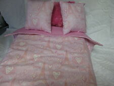 4 Piece Cute American Girl Inspired Paris Pink With Pillow 18 Inch Doll Bedding