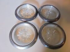4 VINTAGE SILVER PLATED GLASS COASTERS