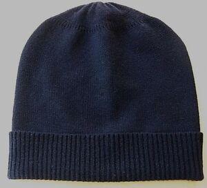 Dark Navy 100% Pure cashmere Hat  Ski beanie Winter Cap skull Unisex