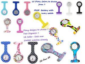 Nurse Watch Patterned Silicone Nurse Brooch Tunic Fob Watch + 2 FREE BATTERIES