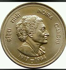 5 / FIVE RUPEE INDIRA  GANDHI BIG COIN IN FINE CONDITION - INDIA