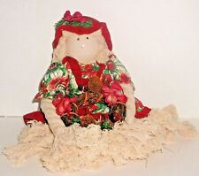CHRISTMAS DOLL Twine Arms Hair Legs Wood Body Face Made to Sit on Table or Shelf