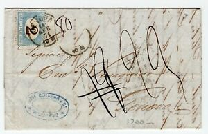 CHILE Valparaiso to Genova Italy 1871 Taxed complete folded letter