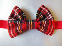 RED TARTAN ROYAL STEWART 3 INCH HAIR BOW ELASTIC HEADBAND BABY TODDLER GIRLS NEW