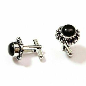 Black Onyx Gemstone .925 Silver Handmade Cufflinks PR8097