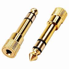 3.5mm Socket to 6.5mm 1/4 inch Jack Plug Audio Stereo Headphone Adaptor Gold