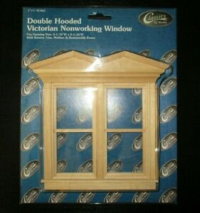 "DOUBLE HOODED WOODEN WINDOW FOR DOLLHOUSE 1:12"" scale"
