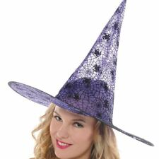 Adults Womens Purple Witches Hat Spider Web Halloween Costume Accessory
