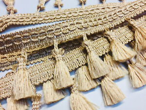 Fringe Tassel Trim Bobble Ribbon Tape with Tassels for curtains craft GOLD BEIGE
