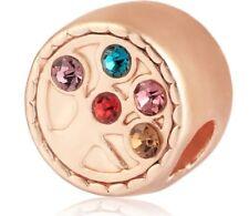 Rose gold coloured rhinestone family tree charm bead. Pandora's Vault inc.