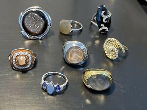 Posten Konvolut Posten 8 x 925 Silber Ring Gr 18 Mondstein Achat Druse Zirkonia