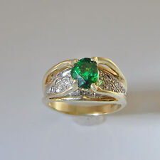 VIVID Green Tsavorite Garnet Diamond Ring 14K Gold Engagement Ring Wedding Ring