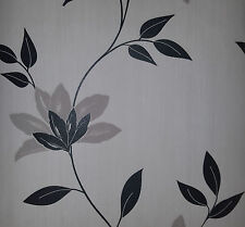 Wow Cream and Black Leaf Textured Vinyl Wallpaper Feature wall