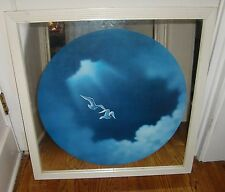 INTERCRAFT INDUSTRIES WHITE WOOD FRAME MIRROR WITH ROUND PAINTING OF SEA GULLS