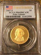 2007 S John Adams Presidential Dollar Deep Cameo Proof PCGS PR69 DCAM FS Gem