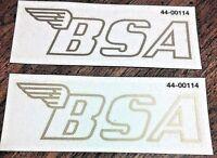 BSA B25 B50 winged logo clear w/gold edge gas petrol tank transfer sticker, pair