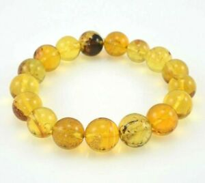 Dominican Amber Bracelet Beads Green Stone Gem Authentic 12.66 mm (17.4 g) a569