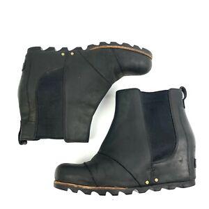 Sorel Lea Wedge Boots 9.5 Black Quarry Leather Waterproof Chunky Booties