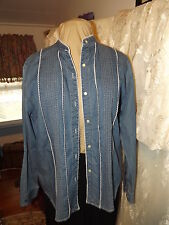 RALPH LAUREN BLUE JEAN SHIRT PLEATED SZ 14