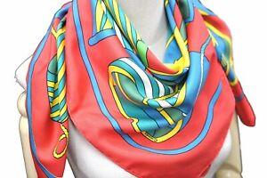 "Authentic HERMES Scarf ""THALASSA"" Silk Red C9475"