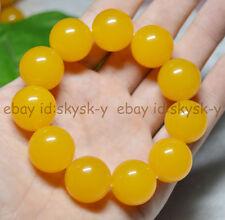 "Huge 20mm Rare Yellow South America Topaz Gems Ball Beads Bracelet 7.5"" AAA"