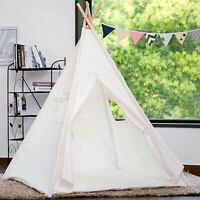 Samincom Teepee Foldable 100% Cotton Tent - Large Indoor/Outdoor Tipi White