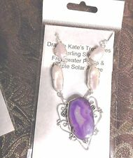 """Necklace Silver Plated Purple Solar Agate & Genuine Pearl Gemstone 16-18"""""""